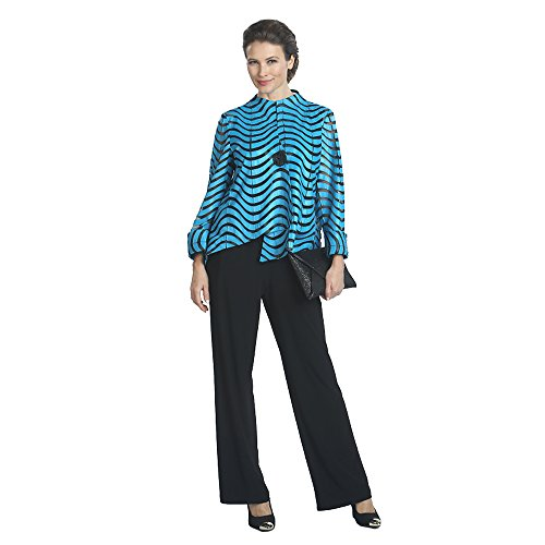 IC Collection Faux Leather Designer Jacket in Blue 2596 (Medium) by IC Collection (Image #1)