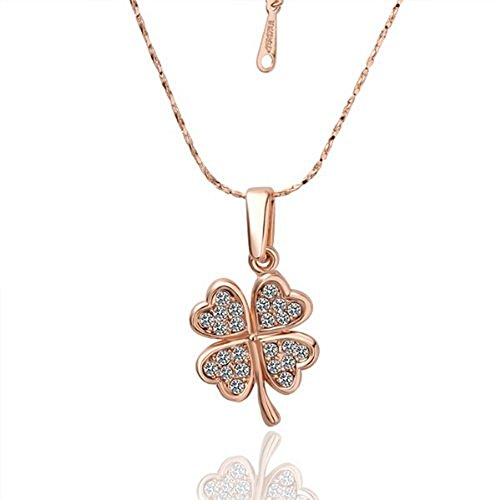 Four Leaf Clover Necklace Chain ——18K Rose Gold Valentine's Day gift Christmas (Rose Gold Clover)