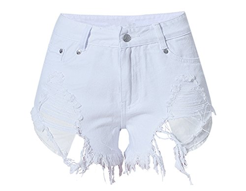 Women's Ripped Destroyed Frayed Cutoff Pocket Exposed Denim Shorts White M
