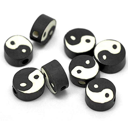 - Pendant Jewelry Making for Bracelets and Chains 25 Yin Yang Beads Clay with Vivid Markings - BD155