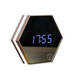 Zehui Alarm CLock Rechargeable Multifunction LED Digital Display Mirror Alarm CLock/Thermometer/Night Light USB Charging Champagne