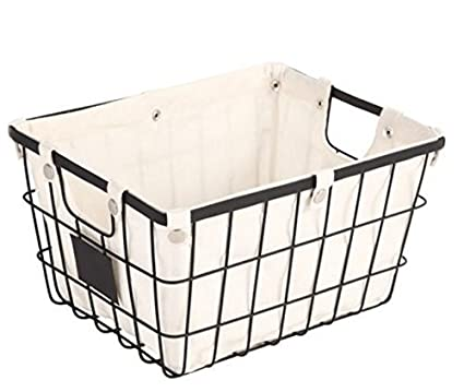 Captivating Sturdy Small Wire Storage Basket With Chalkboard On Both Sides For Labeling  Organizer With Liner Kitchen