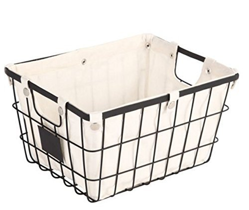 Sturdy Small Wire Storage Basket with Chalkboard on Both Sides for Labeling Organizer with Liner Kitchen Food Pantry Papers Home Office Desk Shelf Bathroom Laundry Room Shelf Bedroom Bed Room