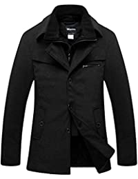 Men's Warm Pea Coat Windproof Thick Winter Jacket with Quilted Bib