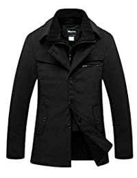 Wantdo Men's Wool Blend Pea Coat Windproof Thick Winter Jacket with Quilted Bib