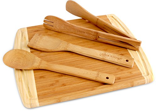 """41Fv8qWdnsL - Utopia Kitchen Natural Bamboo Gift Set with 3-Piece Wooden Utensils and a 14.5"""" x 11.5"""" Bamboo Cutting Board"""