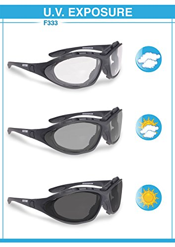 Bertoni Motorcycle Goggles Photochromic Antifog Lens - Interchangeable Arms and Elastic Strap by Italy F333A Motorbike Sunsensor Riding Padded Glasses by Bertoni (Image #4)