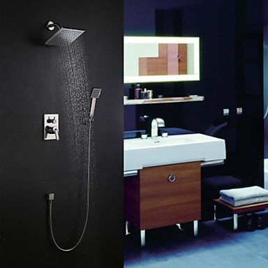 Axiba Shower tap Wall Mount Contemporary Nickel Brushed with 8 inch Shower head and Hand Shower