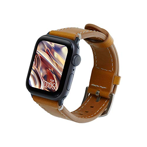 (Mr. Time Smart Watch Leather Band - Premium Genuine Leather Replacement Compatible with Apple Watch 42mm and 44mm Series 4, 3, 2, 1 [Easy to Install] - Tan Brown)