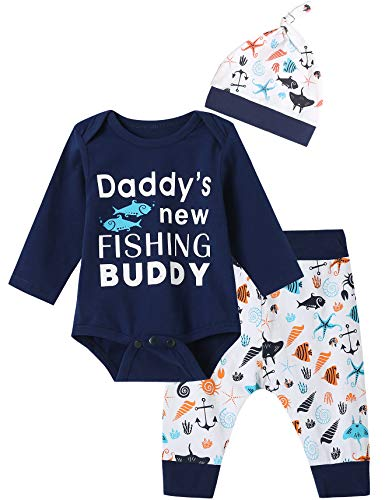 3PCS Baby Boys' Daddy's Fishing Buddy Outfit Set Long Sleeve Bodysuit (Blue01, 3-6 Months)