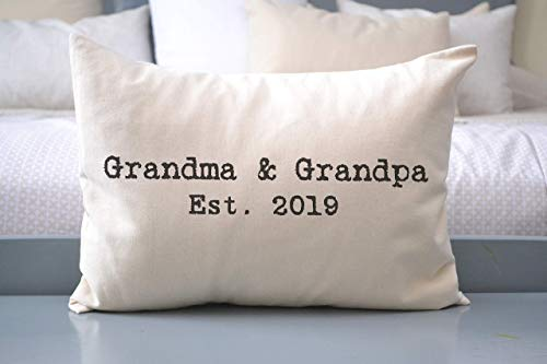 Grandparent Pillow for year, 2019 announcement, Pregnancy Announcement, Grandparent Gift Pillow promoted to Grandparents Pregnancy Reveal vintage typewriter style font