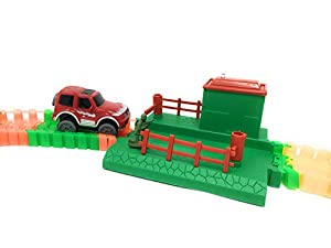 204 Piece Bendable, Magic Race Cars Track Set with 2 Battery Operated Cars and Glow in the Dark Track Pieces