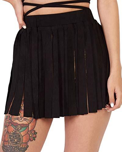 iHeartRaves Black Boho Fling N' Fringe Faux Suede Skirt - Fringe Black Skirt