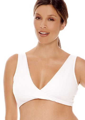 LAMAZE Cotton Spandex Sleep Bra for Nursing and Maternity - White, L