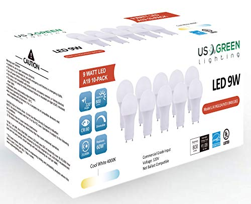 - (10 Pack) LED GU24 Twist-in Base A19 Light Bulb, 9W (60W Equivalent), Energy Star, Dimmable, Bi-Pin, 4000K (Neutral White), 800 Lumens, UL Listed.