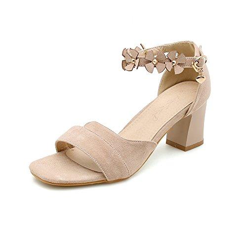 Tête Sandales Toe à Open Taille Boucle épais Grande Chaussures Beige Velours Carrée de Femmes avec BdwqXaHax