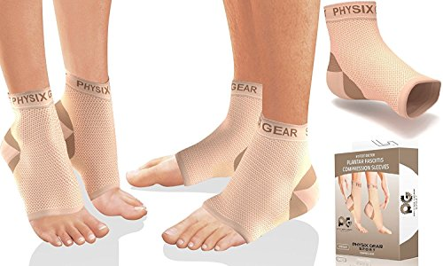Physix Gear Plantar Fasciitis Socks with Arch Support for Men & Women - Best 24/7 Compression Foot Sleeve for Heel Spurs, Ankle, PF & Swelling - Holds Shape & Better Than a Night Splint - Beige LXL