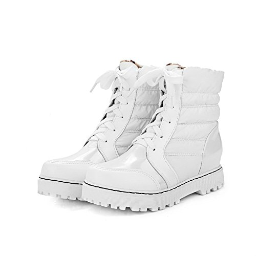 Allhqfashion Women's Lace-up Round Closed Toe Kitten-Heels Blend Materials Low-Top Boots White ej4T4rK0