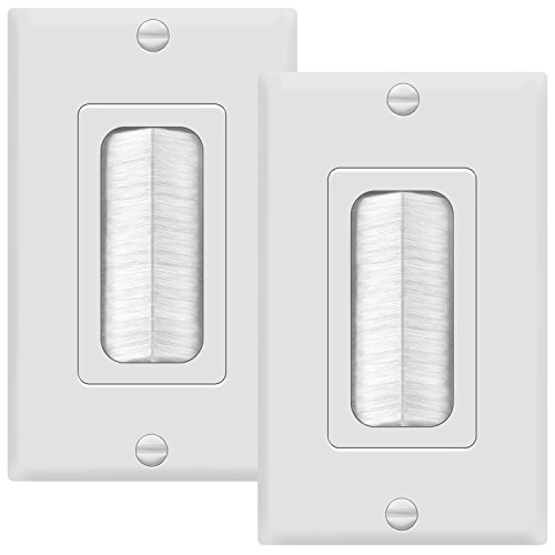 TG8891-2PCS 1-Gang Brush Wall Plate Multimedia Bristled Pass-Through Insert with Decorator Wall Plate for Media Cables, Standard Size, White (2 Pack)