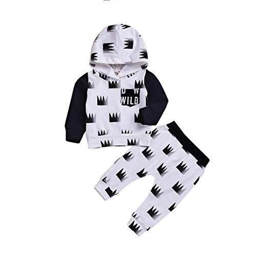 Baby Boy Sport Hoodie Sets for 0-24 Months,Jchen(TM) Newborn Infant Baby Boy Crown Letter Hoodie Tops Pants Home Wear Casual Outfits Sets (Age: 6-12 -