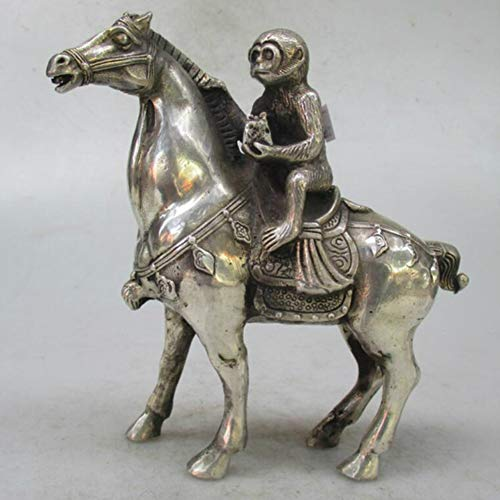 EASTCODE Charming Metal Crafts Christmas Home Decorations+Chinese Old Handwork Tibet Silver Carved Monkey Riding Horse Statue/Sculpture