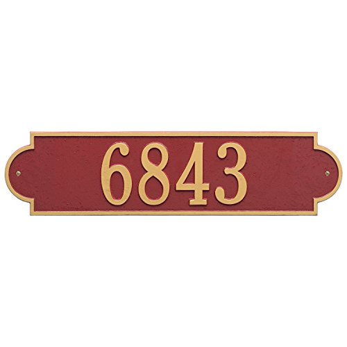 (Whitehall Products Richmond Estate Wall One Line Address Sign Horizontal in Red/Gold)
