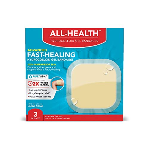 All-Health Advanced Fast Healing Hydrocolloid Gel Bandages, Extra Large Wound Dressing, 3 ct | 2X Faster Healing for First Aid Blisters or Wound Care