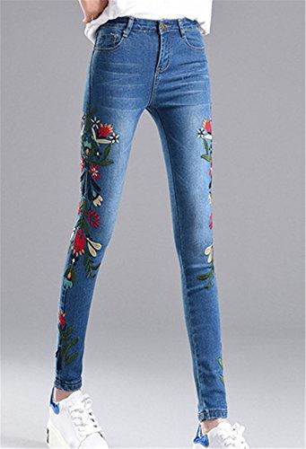 Stretti Denim Pantalone Tapered Personalità Primavera Autunno Pants Alta Pantaloni Donna 1 Vita Jeans Dabag Ricamo Floreale Con Ragazzi In Capri Blu gvP8TzZ