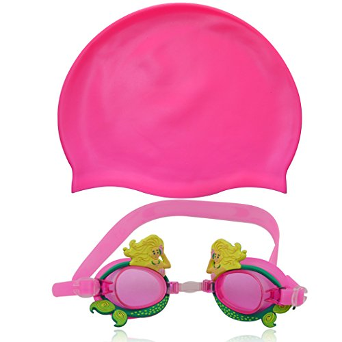 Training Swimming Costumes Funky (Maticr Cute Swim Goggles with Swimming Cap for Kids Girls Boys (Pink)