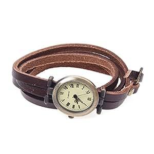 SODIAL(R) Reloj Oval Cuarzo Pulsera Cuero PU Marron Numeros Romanos Mujer Hombre Retro