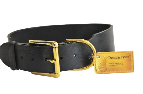 "Dean and Tyler ""B and B"", Basic Leather Dog Collar with Solid Brass Hardware – Black – Size 36-Inch by 1-1/2-Inch – Fits Neck 34-Inch to 38-Inch"