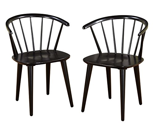 (Target Marketing Systems Set of 2 Florence Dining Chairs with Low Windsor Spindle Back, Set of 2, Black)