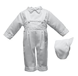 Lauren Madison Baby-Boys Newborn Three Piece Satin Long Pant Outfit Set, White, 6-9 Months