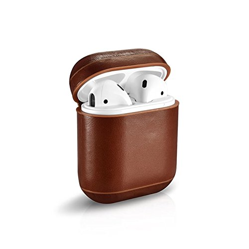 Xberstar Genuine Leather Shock Proof Protective Case Sleeve Skin Cover for Apple AirPods True Wireless Headphone Charging Box (Leather case, Brown)