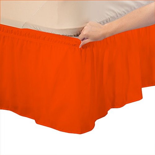 Relaxare Cal King 400TC 100% Egyptian Cotton Orange Solid 1PCs Wrap Around Bedskirt Solid (Drop Length: 24 inches) - Ultra Soft Breathable Premium Fabric by Relaxare