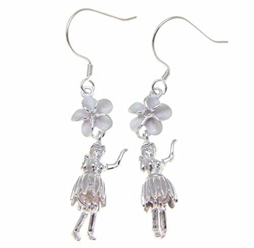 925 Sterling silver Hawaiian hula girl dancer 8mm plumeria flower cz hook wire (Spirit Dancer Earrings)