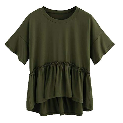 VZEXA Women Blouse Ladies Short Sleeve Velvet Turn-Down Collar Pockets T-Shirt(Army Green,US-M/CN-L)