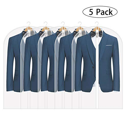 Hoopoton Lightweight Garment Bags for Storage, Pack of 5 Translucent Moth Proof Suits Bags (5 Pcs 24
