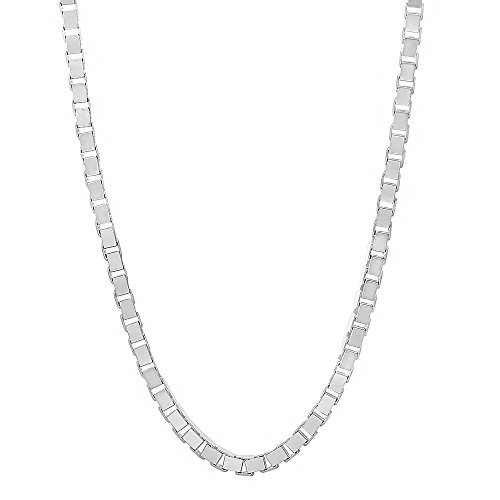 3mm Solid 925 Sterling Silver Squared Box Link Italian Crafted Chain, 24