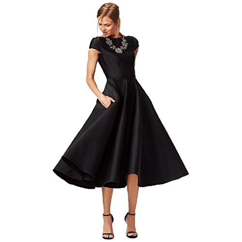 Gown Tea Length - Fashionbride Women's Formal Evening Gown Satin Short Sleeve Tea-Length Mother of The Bride Dress Black-US8