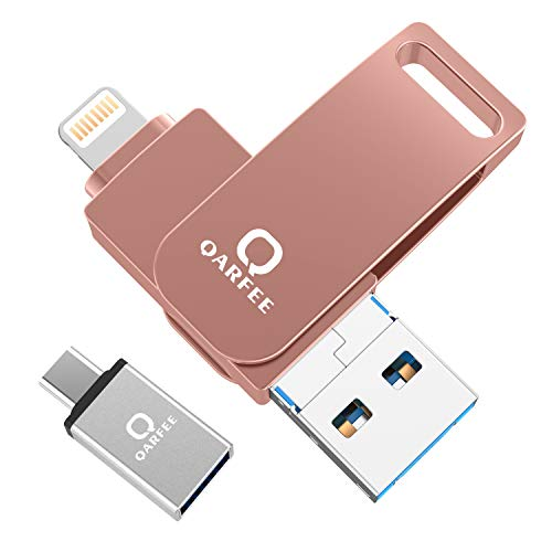 QARFEE USB Flash Drive Photo Stick for iPhone ipad USB 3.0 Memory Stick Mobile PhotoStick for Android Smart Phone with OTG Function Jump Drive 4 in 1 External Storage Expansion -