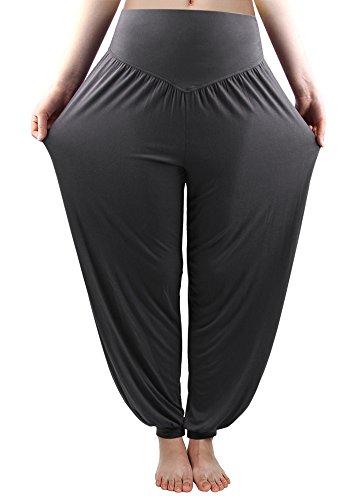 fitglam Women Harem Pants Yoga Pants for Women Genie Pants Boho Pants Modal Cotton Long Baggy Sports Workout Dancing Trousers Dark -
