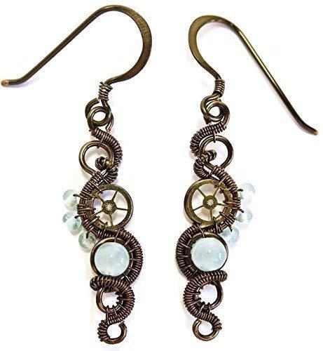 Aquamarine & Bronze Woven Steampunk Earrings - Steampunk Jewelry