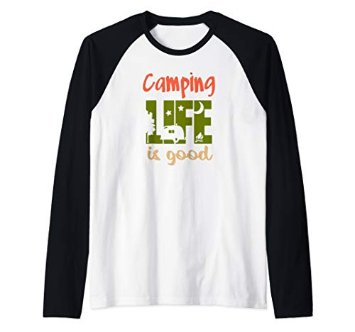 (Funny Life Is Good Camping Tshirt Travel Trailer T-shirt Men Raglan Baseball Tee)