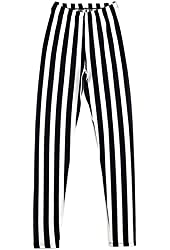 Womdee(TM) Women's Vertical Stripes Striped Ankle Length Footless Leggings Pantyhose-Black And White With Accessory