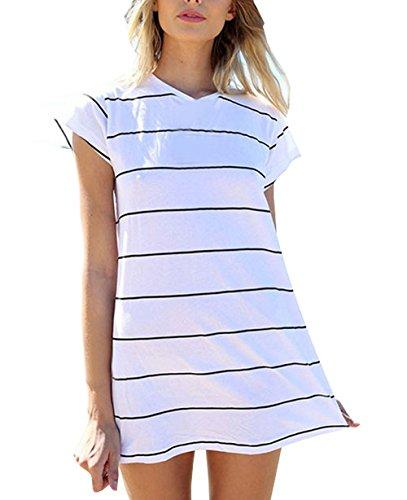Damen Gestreift kurzarm O-Ausschnitt Sommerkleid Minikleid T-shirt Blusen Lose Kleider Elegant