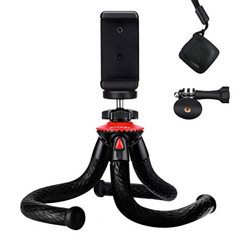 Camera Tripod, BlitzWolf Flexible Tripod, Phone Tripod with Bluetooth Remote & Phone Holder for iPhone Xs Max, Samsung, with 1/4'' Screw & Adapter for Camera, Action Camera, DSLR Sony Nikon Canon