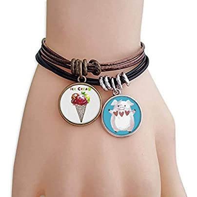 Watercolor Leaves Cones Ice Cream Bracelet Rope Wristband Pig Heart Love Set Estimated Price £9.99 -