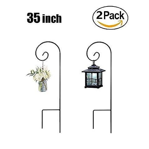 B&G 2 Shepherd Hooks 35 Inch Black Super Strong Rust Resistant Premium Metal Hook For Weddings hook Hanging Plant Baskets Solar Lights Lanterns Bird Feeders Mason Jars & Plant Hangers …