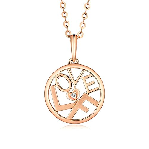Adisaer 18k(750) Rose Gold Women Necklace 0.94g ''LOVEF''--Love Forever Round Diamond Wedding Necklace by Adisaer